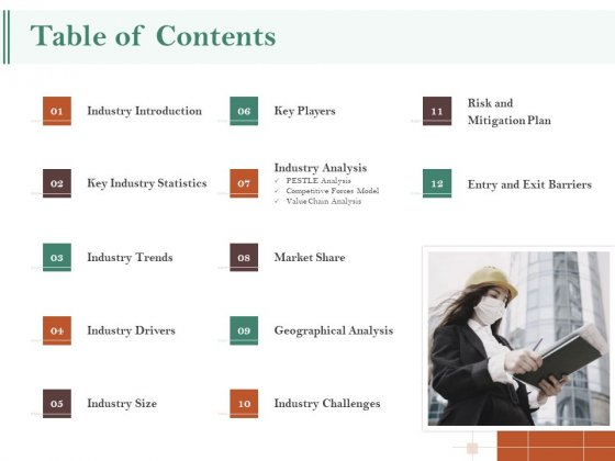 Examining The Industry Environment Of Company Table Of Contents Ppt Infographic Template Icons PDF