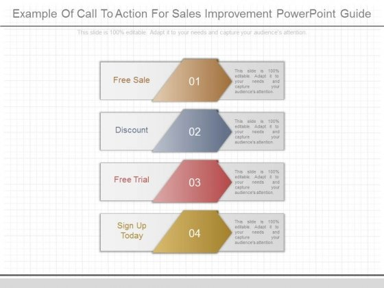 Example Of Call To Action For Sales Improvement Powerpoint Guide