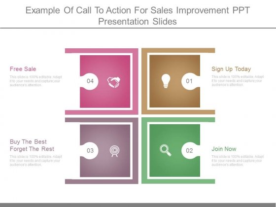 Example Of Call To Action For Sales Improvement Ppt Presentation - Sales presentation slides