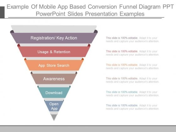 Example Of Mobile App Based Conversion Funnel Diagram Ppt Powerpoint Slides Presentation Examples