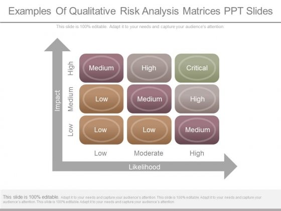 Examples Of Qualitative Risk Analysis Matrices Ppt Slides