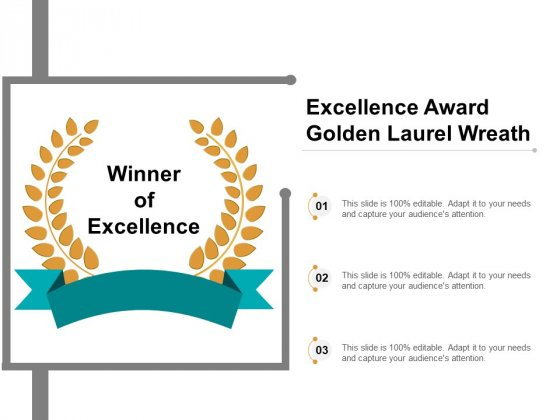 Excellence Award Golden Laurel Wreath Ppt PowerPoint Presentation Show Themes