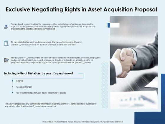 Exclusive Negotiating Rights In Asset Acquisition Proposal Ppt PowerPoint Presentation Inspiration Guide
