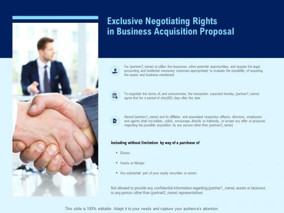 Exclusive Negotiating Rights In Business Acquisition Proposal Ppt PowerPoint Presentation Designs Download