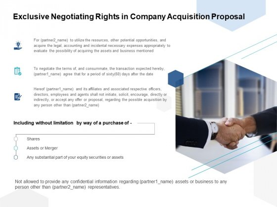 Exclusive Negotiating Rights In Company Acquisition Proposal Ppt PowerPoint Presentation Show Graphic Images
