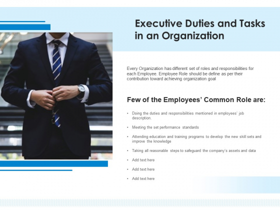 Executive Duties And Tasks In An Organization Ppt PowerPoint Presentation File Guidelines PDF