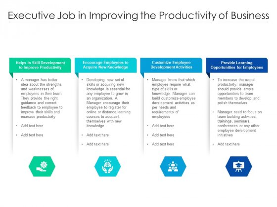 Executive Job In Improving The Productivity Of Business Ppt PowerPoint Presentation Gallery Graphics Design PDF