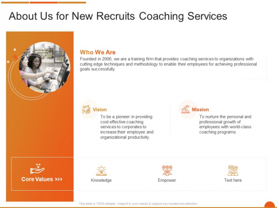 Executive Job Training About Us For New Recruits Coaching Services Template PDF