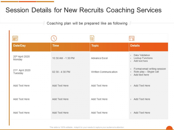 Executive Job Training Session Details For New Recruits Coaching Services Template PDF