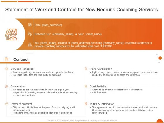 Executive Job Training Statement Of Work And Contract For New Recruits Coaching Services Sample PDF