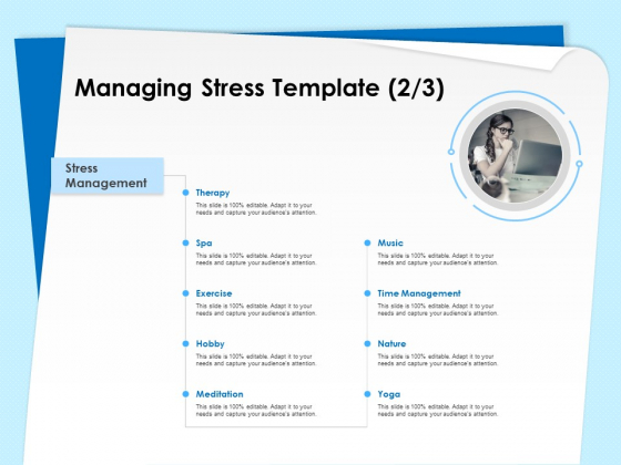 Executive Leadership Programs Managing Stress Template Exercise Ppt PowerPoint Presentation Portfolio Pictures PDF