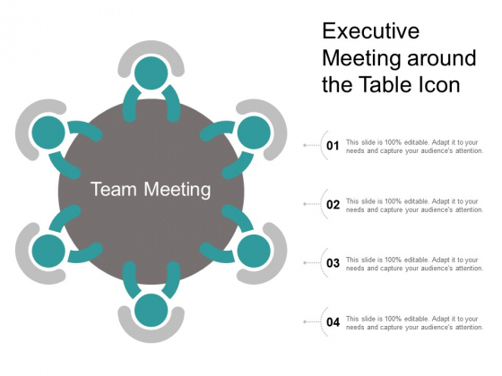 Executive Meeting Around The Table Icon Ppt PowerPoint Presentation Inspiration Images