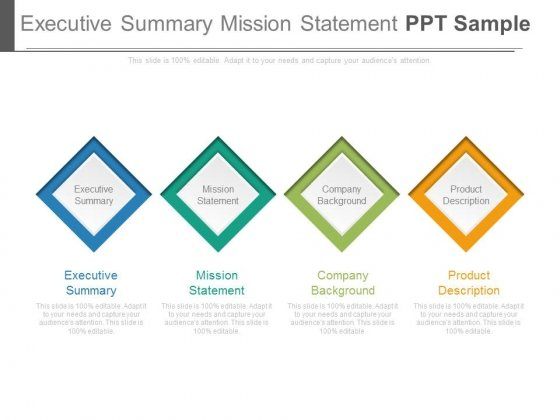 Executive Summary Mission Statement Ppt Sample
