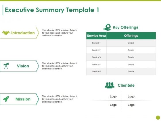 Executive Summary Template 1 Ppt PowerPoint Presentation Show Images