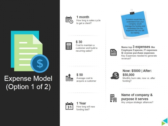 Expense Model Template 1 Ppt PowerPoint Presentation Outline Sample
