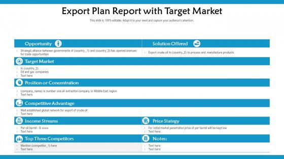 Export Plan Report With Target Market Ppt PowerPoint Presentation Inspiration Elements PDF
