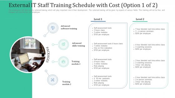 External IT Staff Training Schedule With Cost Option Ppt Inspiration Graphic Images PDF