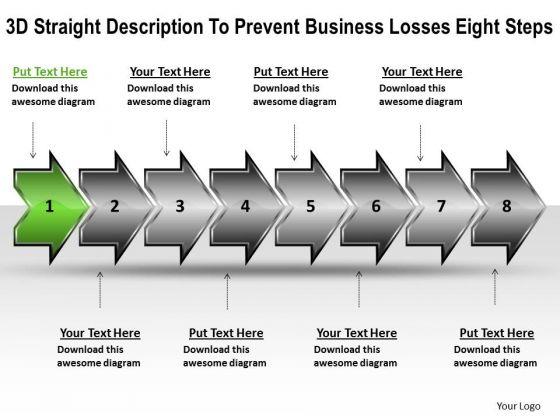 E Business PowerPoint Presentation Losses Eight Steps Technical Flow Chart Slides