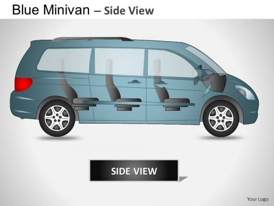 Economic Blue Minivan Side View PowerPoint Slides And Ppt Diagram Templates