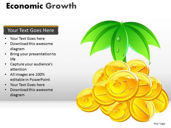 Economic Growth PowerPoint Templates Editable Gold Coins Ppt Slides