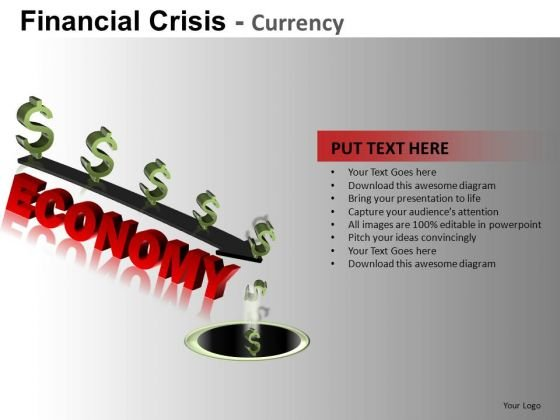 Economy Down The Drain PowerPoint Slides