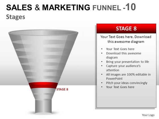 Editable 10 Stage Sales Marketing Funne PowerPoint Slides And Ppt Diagram Templates