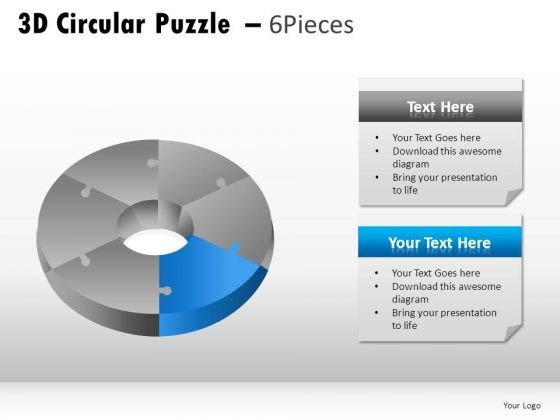 Editable 3d Circular Puzzle 6 Pieces PowerPoint Slides And Ppt Diagram Templates