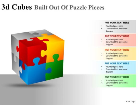 Editable 3d Cube Puzzle Pieces PowerPoint Slides And Ppt Diagram Templates