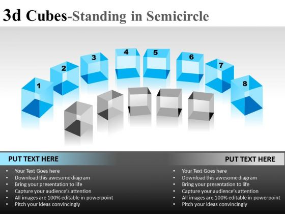 Editable 3d Cube Standing In Semicircle PowerPoint Slides And Ppt Diagram Templates