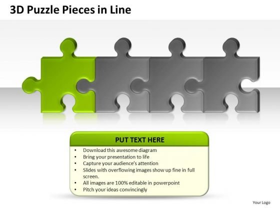 Editable 3d Puzzle Pieces In Line PowerPoint Presentation Slides And Diagrams