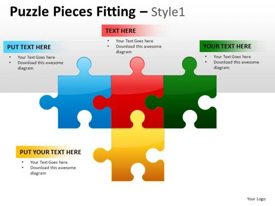 Editable 4 Pieces Puzzle Chart For PowerPoint Slides And Diagrams