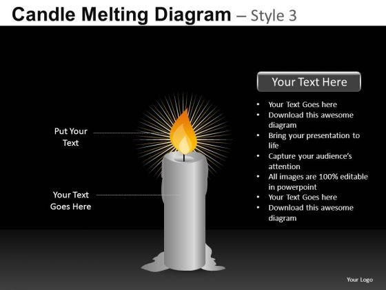 Editable Candle Diagram PowerPoint Slides