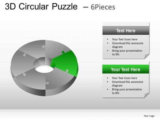 Editable Colors 3d Circular Puzzle 6 Pieces PowerPoint Slides And Ppt Diagram Templates