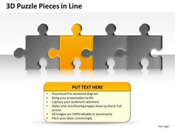 Editable Colors 3d Puzzle Pieces In Line PowerPoint Slides And Ppt Diagram Templates