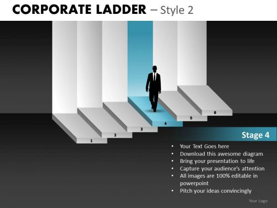 Editable Corporate Ladder PowerPoint Ppt Templates