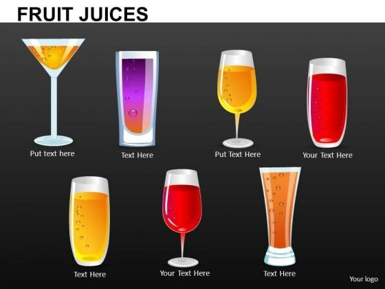Editable Fruit Juice Glasses PowerPoint Templats