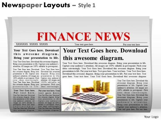 Editable Headlines Newspaper Layouts PowerPoint Slides Ppt Templates