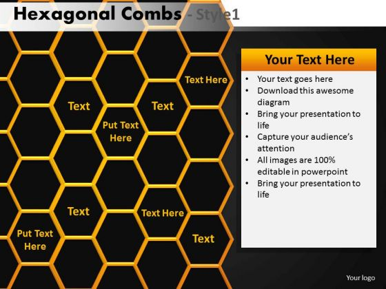 Editable Hexagon Combs PowerPoint Download Ppt Slides