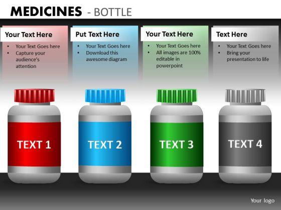 Editable Medical Bottles PowerPoint Template Medicines Ppt Slide