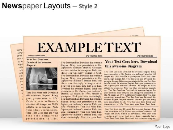 Editable Newspaper Layouts PowerPoint Clipart And Slides Graphics