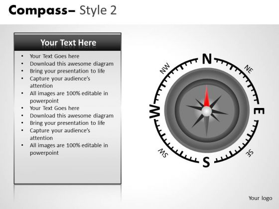 Editable PowerPoint Clipart Graphics Compass Direction Ppt Slides