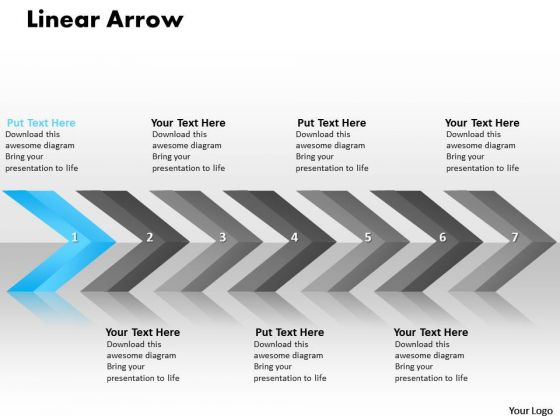 Editable PowerPoint Template Linear Arrows 7 Stages Operations Management Business Graphic