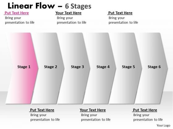 Editable PowerPoint Template Straight Demonstration Of 6 Stages Business Graphic