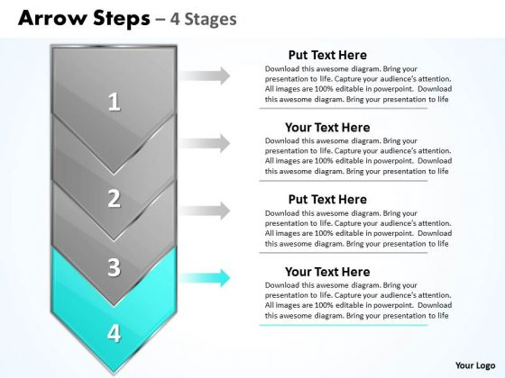 Editable PowerPoint Template Word Count 2007 Steps Demonstration Image