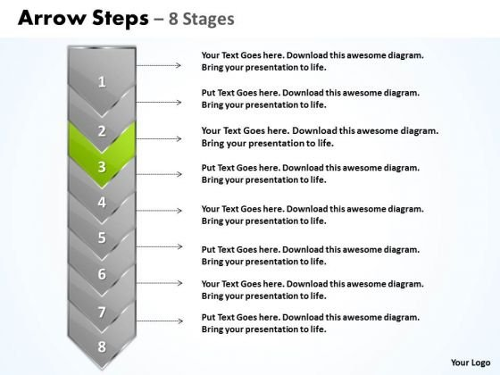 Editable Ppt Background Eight Stages Demonstrated Arrow Business Plan PowerPoint 4 Image