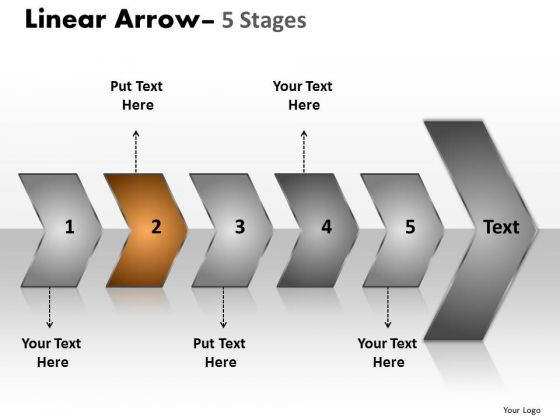 Editable Ppt Background Sequential Representation Of 5 Steps Using Arrows 3 Graphic