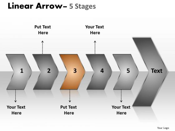 Editable Ppt Background Sequential Representation Of 5 Steps Using Arrows 4 Graphic