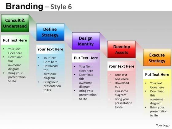 Editable Ppt Slides 5 Step Branding Process Stairs Diagram PowerPoint Templates