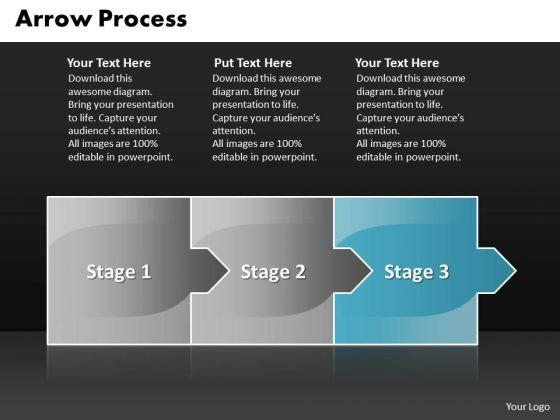 editable ppt template arrow process 3 stages project management