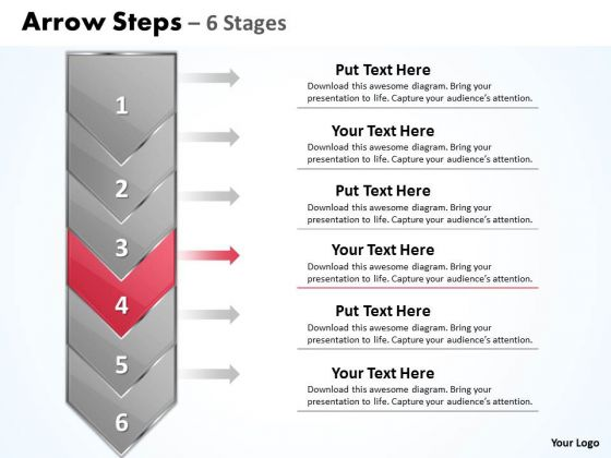 Editable Ppt Template Vertical Stages Illustrated Through Arrow 5 Image